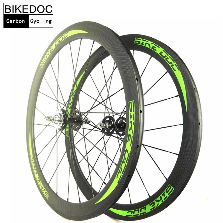 BIKEDOC Carbon Track Bike Wheels 50MM Tubular Roue Velo Fixie Bicycle Wheel Fixed Gear