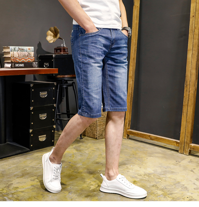 KSTUN Jeans Men Slim Fit Denim Shorts Solid Blue Stretchy Man Jeans Brand 2018 Business Casual Short Jean Pants Cowboys Hombre 13