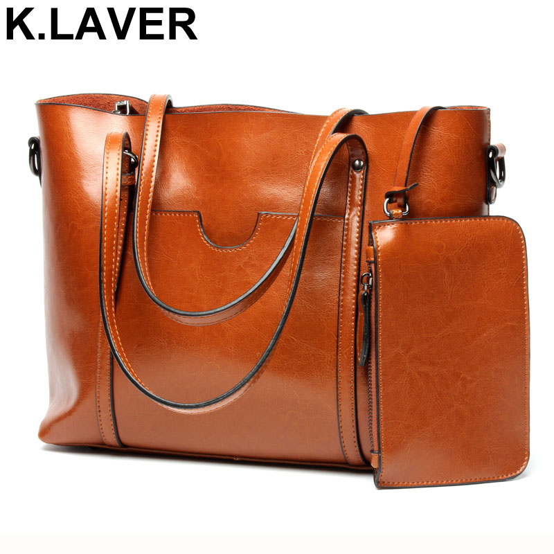 K.LAVER Women Casual Tote Genuine Leather Handbag Bag Fashion Vintage Large Shopping Bag Designer Crossbody Shoulder Bags Female women canvas messenger bags female crossbody bags solid shoulder bag fashion casual designer handbag large capacity tote gifts
