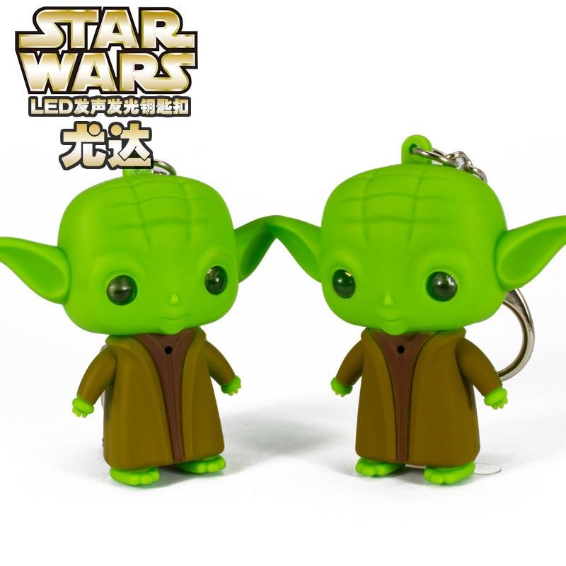 1pc Star Wars Master Yoda Pendant Figure Keychain LED Lite Torch Toy key rings