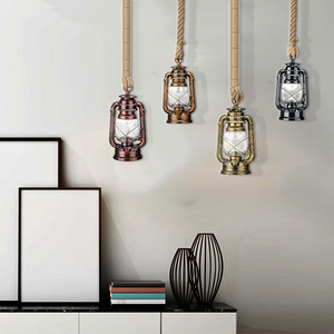 Image 2 - Vintage Kerosene Pendant Lamp With Free Bulb E27 Hemp Rope Hanging Lamp for Home/Bedroom/Living room Industrial Pendant Lights
