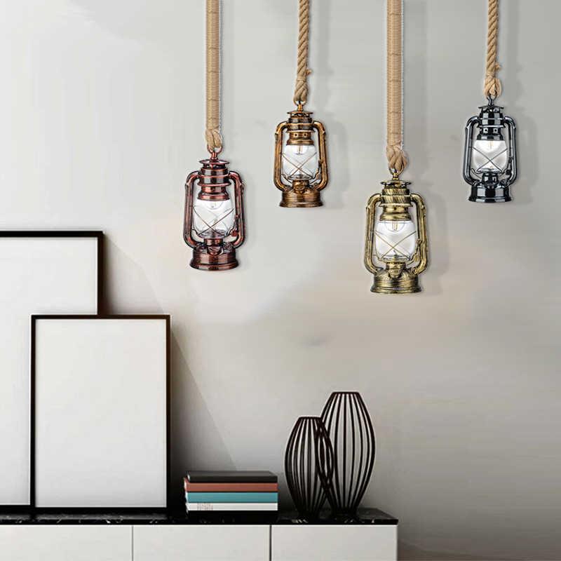 Vintage Kerosene Pendant Lamp With Free Bulb E27 Hemp Rope Hanging Lamp for Home/Bedroom/Living room Industrial Pendant Lights