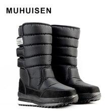 Masculinos que espesan las botas térmicas nieve botas impermeables de algodón gaotong botas de nieve al aire libre zapatos zapatos de moda