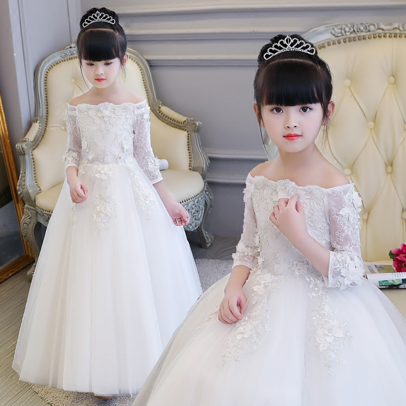 New Luxury Children Girls White Color Flowers Lace Piano Performance Pageant Dress Elegant Shoulderless Birthday Wedding Dress 12pcs design elegant flowers lace laser cut white invitations cards for wedding print blank paper invitation card kit convite