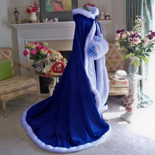 Novo Azul Royal Chão Guarnição da Pele Do Falso do Inverno Do Natal Capa De Noiva Deslumbrante Casamento Mantos Encapuzados Longo Wraps Partido Jaqueta