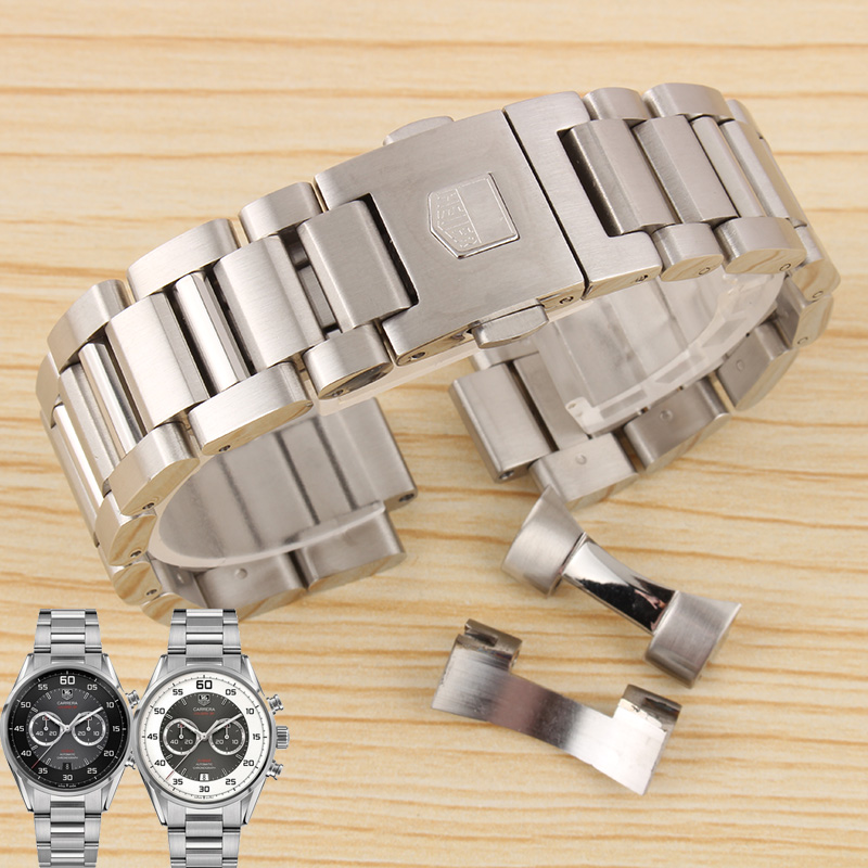 BRETA 22mm silver watch accessories for HEUER AQUARACER CARRERA stainless steel bracelet strap men s watch