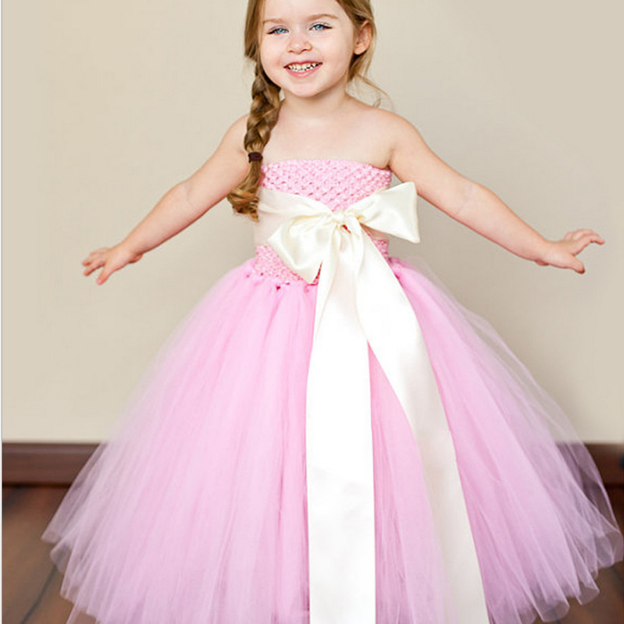 Pink Tutu Dree With Cute Bow Lovely Flower Girl Dresses Toddler ...