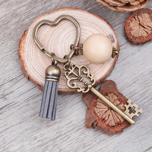 Doreen Box Antique Bronze heart Key Chains&Key Rings Vintage Big Wood round bead
