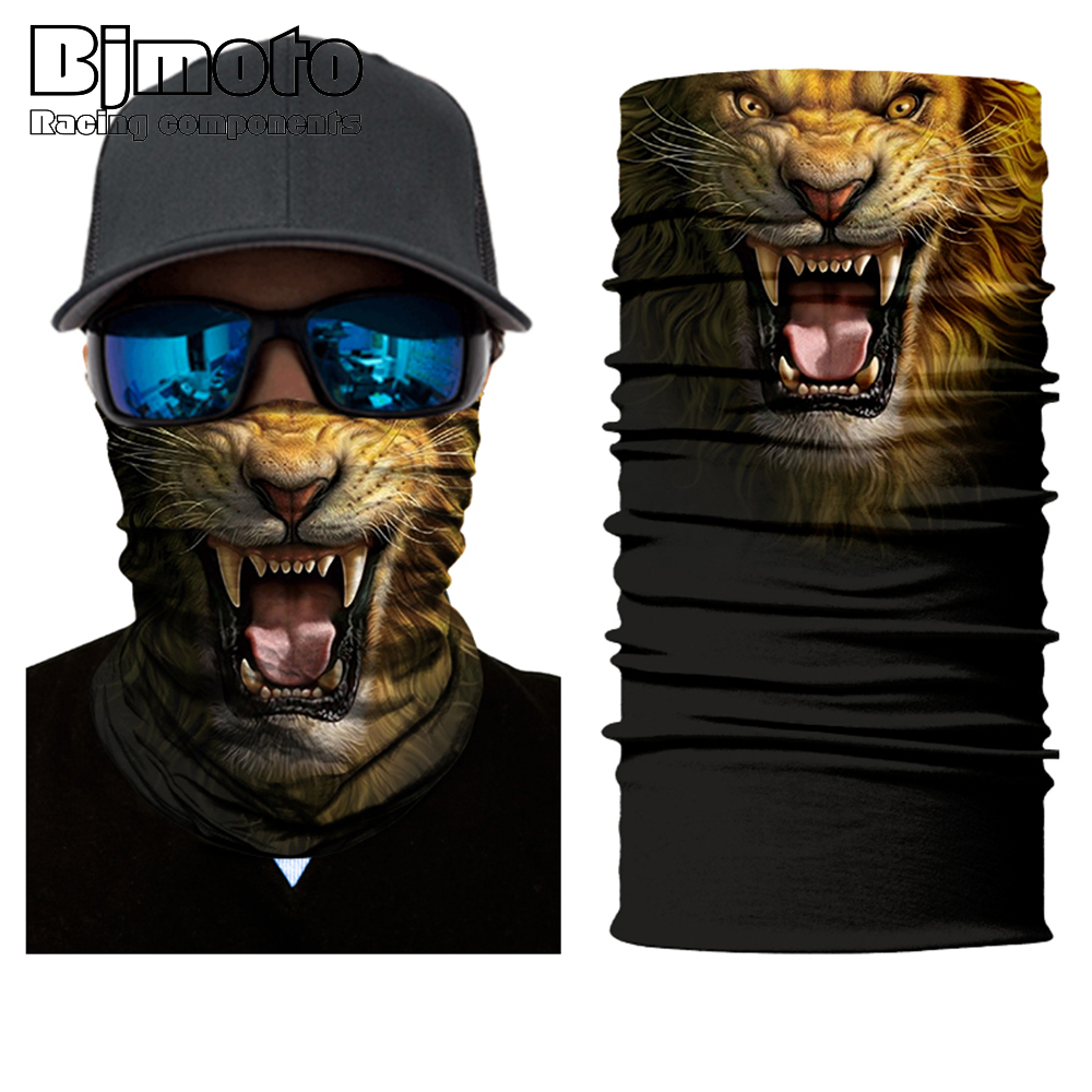 BJMOTO 3D Lion Bandana Outdoor Balaclava Motorcycle Face Mask Neck Headbands Biker Magic Headscarf Tube Neck Scarves  40%off