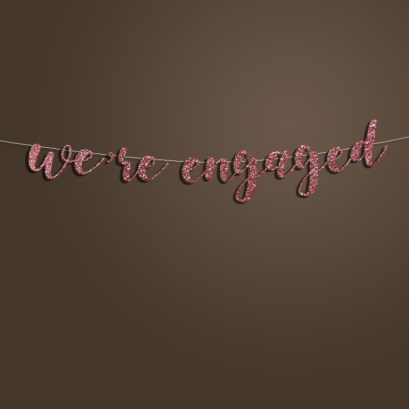 We Re Engaged Banner Silver Gold Glitter Letter Sign Backdrop