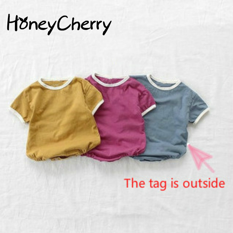 Short Sleeve Baby Bodysuit Crawling Suit For Infants Butt-wrapped T-shirt Simple And Comfortable Super Thin Cotton