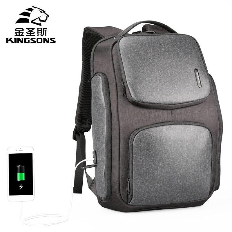 Kingsons Men's Solar Charging Backpack USB Backpack Student College Bag Bookbag Travel Backpack Anti Theft Backpack недорго, оригинальная цена