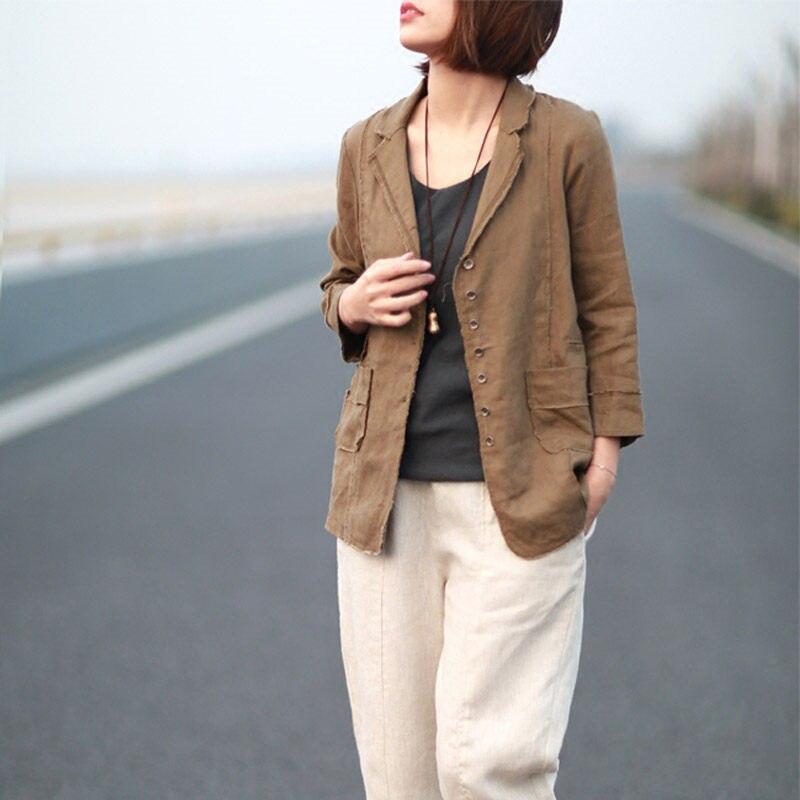 2019 Retro Loose Cotton Linen Suit Jacket Female Casual Seven Sleeve Slim Shirt Office Lady Spring Summer Blazer Blusa F1005