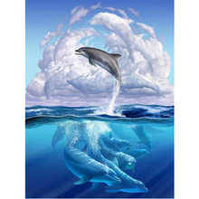 DIY diamond painting sea scenery dolphins embroidery Marine life group Mosaic landscape decor
