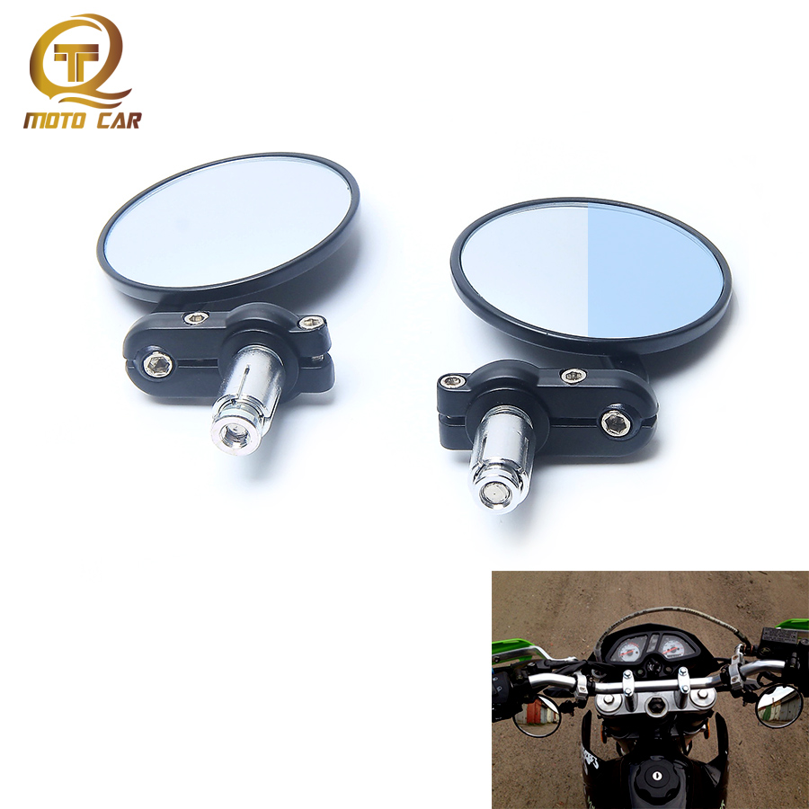 цена на Aluminium 7/8 Adjustable Mirror Motorcycle Rearview Round Refit Motorbike Scooters Side Mirrors Cafe Racer Round Wall Mirror