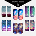 2017new arrival 3d ankle socks Galaxy Aliens Starry moon Sky  Love Triangle printed Socks Summer Autumn Cute Cartoon short socks