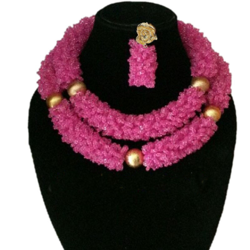 4UJewelry Dubai Jewelry Sets Fuchsia and Gold African Style Weddings Beads 2 Rows Big Nigerian Necklace Set Crystal Fashion Set4UJewelry Dubai Jewelry Sets Fuchsia and Gold African Style Weddings Beads 2 Rows Big Nigerian Necklace Set Crystal Fashion Set