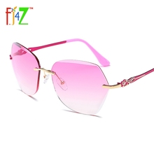 2017 New Classical Women's Sunglasses Fashion Trendy Alloy Arms Rimless Gradient Lens Eyewear Glasses UV400 gafas de sol