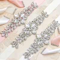 Yanstar Wedding Dress Belt Women Rhinestones Crystal Belt Handmade Silver Diamond Belt Wedding 37WB993