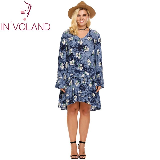 IN VOLAND Women Dress Summer Casual Plus Sizes Bohemia Loose Flare Long  Sleeve Floral Asymmetrical Ladies Short Dress Oversized 1b98158c35c4