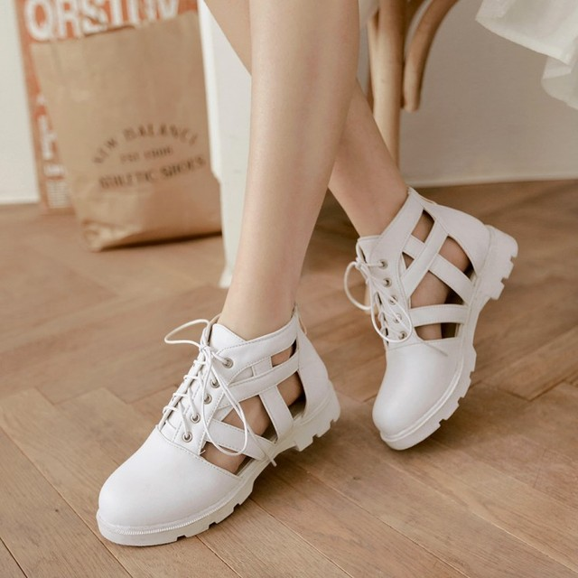 f1ab5f1ed84 Korean summer cut outs closed toe lace up sandals for women Roman hollow  cool boots student over size 34-43 flat sandals shoes