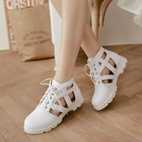 Korean summer cut outs closed toe lace up sandals for women Roman hollow cool boots student over size 34 43 flat sandals shoes