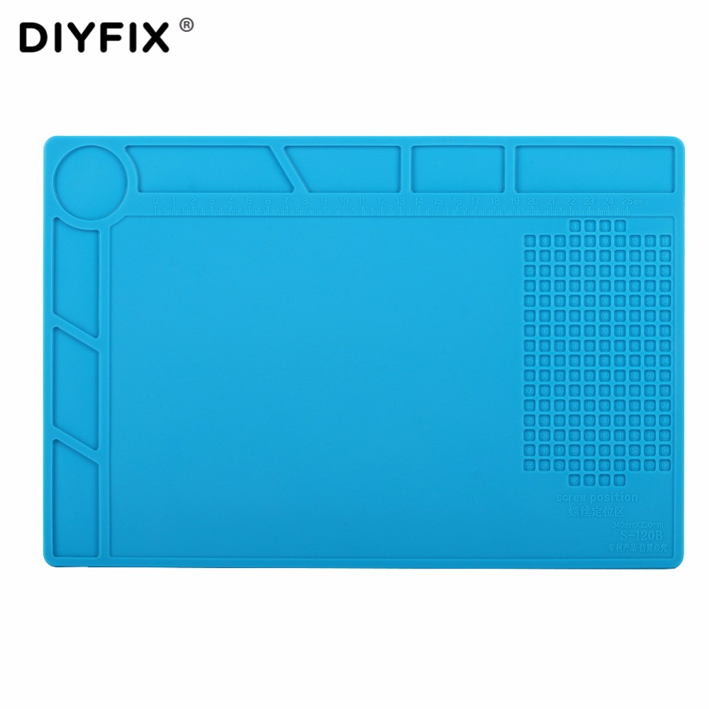 DIYFIX Phone Repair Tools 34x23cm Heat Insulation Silicone Pad Desk Mat BGA Soldering Station with Screw Position