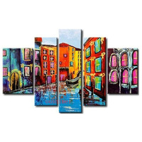 Hand Painted Colorful City Of Venice Water Town Boat Landscape Home Wall Decor Oil Painting Cartoon Venetian Landscape Painting