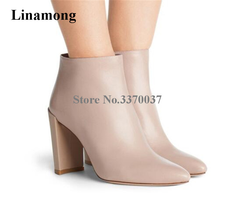 New Fashion Women Pointed Toe Chunky Heel Short Boots Zipper-up Leather Blue High Heel Thick Heel Ankle Booties Dress Shoes цена