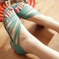 2016 Новые женские Сандалии Летняя Мода Сладкий Платье сандалии полые низком каблуке дамская обувь повседневная обувь размер 33-43 AA010