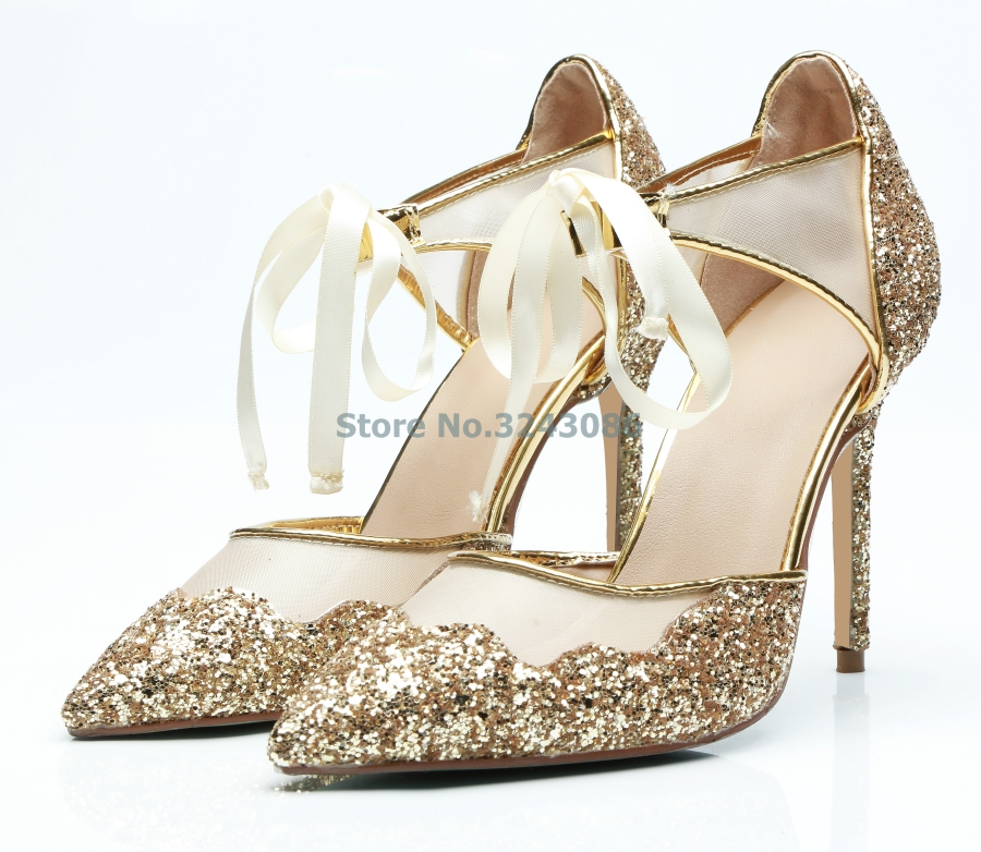Bling Bling Sequined Pointed Toe Thin High Heel Pumps Shining Gold Mesh Ribbon Lace Up Elegant Banquet shoes Spring New ArrivalBling Bling Sequined Pointed Toe Thin High Heel Pumps Shining Gold Mesh Ribbon Lace Up Elegant Banquet shoes Spring New Arrival