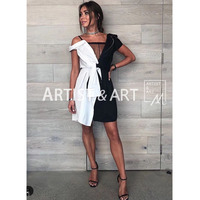 Svoryxiu 2018 Runway Super Fashionable Dress Women's Shirts Patchwork Asymmetry Sexy Dresses