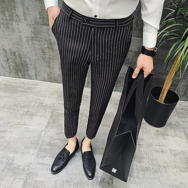 Fashion Men Ankle-Length Classic striped Pants