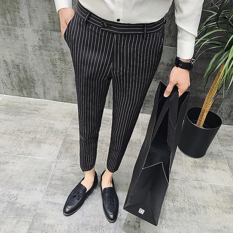Fashion Men Ankle-Length Classic striped Pants