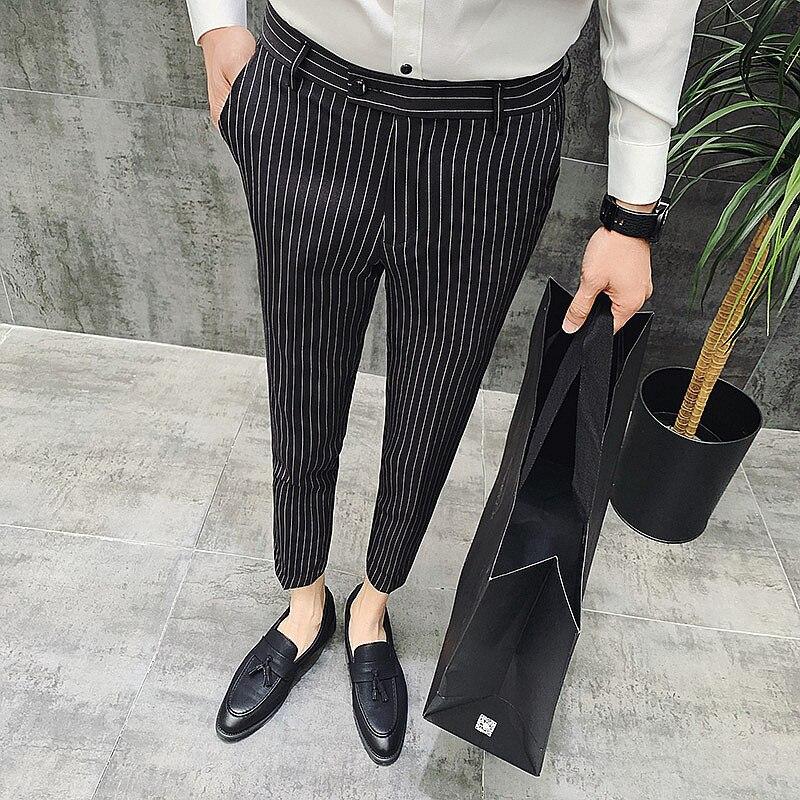 b6ac61107d gris 4 Rectos Zapatos blanco De Tobillo Pantalones Hombres Los Rayas Negro  Lujo Marca A Clásico Negocios Colores Casuales ...