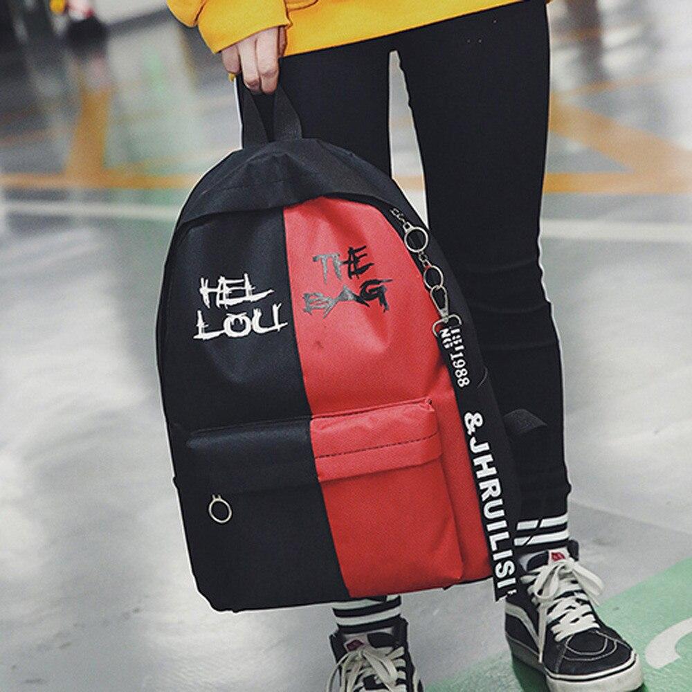 Canvas Letter Unisex Woman Backpacks Female Canvas Backpack Schoolbag For Girls Rucksack Zipper Mochila Escolar Menina