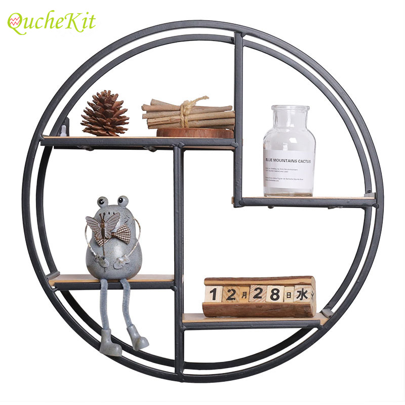 Round Wall Hanging Shelf Home Decoration Accessories Wood Storage Shelves For Decorative Room Flower Pot Figurines Storage Race