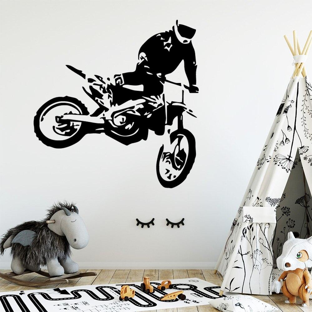 Dirt Bike wall art Motocross Décalcomanie 3D autocollant Rallye motos murale