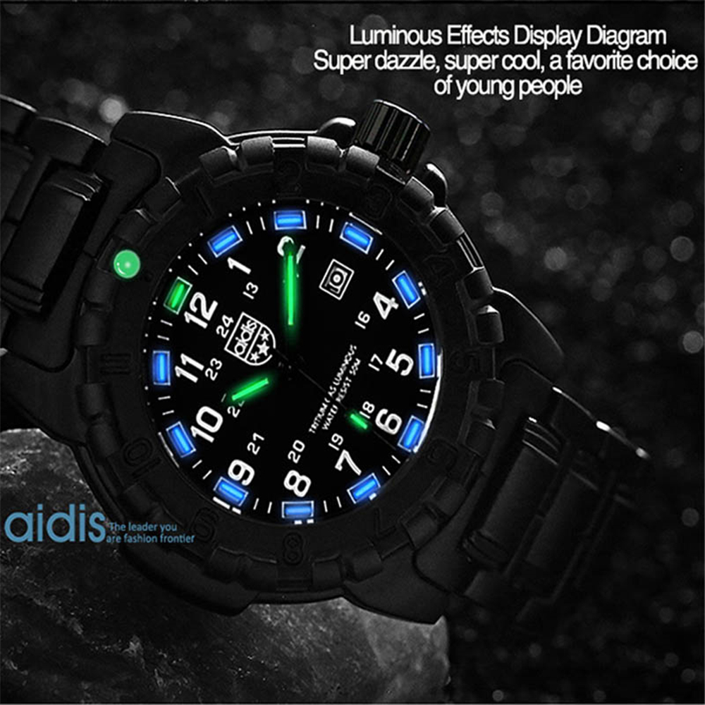 AIDIS top luxury brand men's watches military 50M waterproof stainless steel strap diving luminous watch men sports quartz watch цена и фото