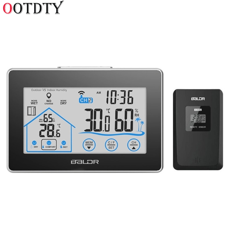 OOTDTY Wetter Station Temperatur Feuchtigkeit Meter Sensor Hygrometer Digitale <font><b>Thermometer</b></font> Wireless Touch LCD Uhr Indoor Outdoor image