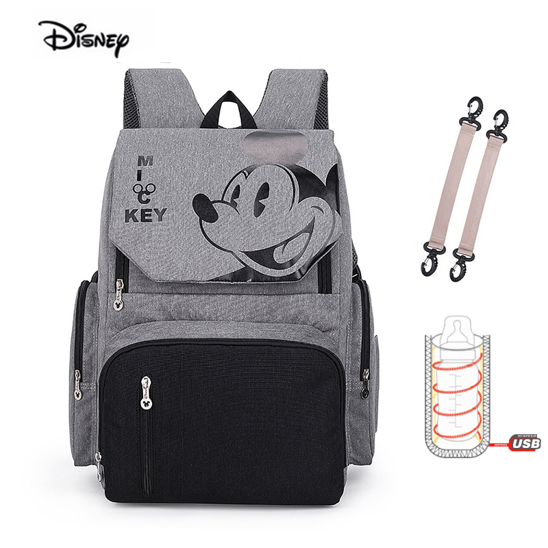Disney Minnie nouvelle momie sac à couches mode Double épaule étanche mère sac pour bébé couches USB plus chaud maternité sac à dos
