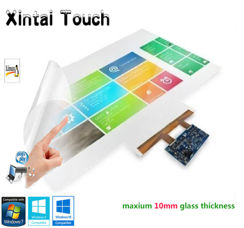"Xintai Touch 49"" Transparent Interactive Touch Foil ,20 touches, Flexible, Clear, Support 3-12 mm thickness Tempered Glass Cover"