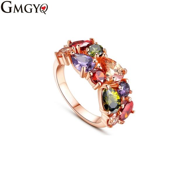 GMGYQ Hot Rose Goud Kleur Mona Lisa Ring voor Vrouwelijke Bruiloft met AAA Kleur