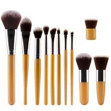 11pcs Cosmetic Eyeshadow Foundation Concealer Bamboo Handle Makeup Brushes Set  Q21