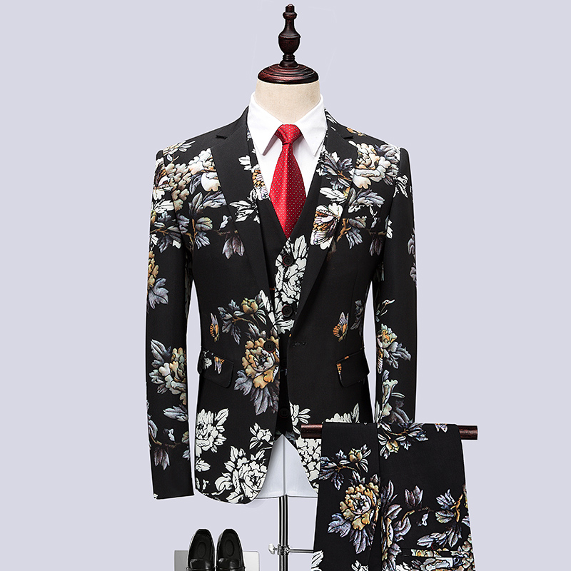 wedding : 6XL large size mens personalized print suit three-piece fashion business slim banquet dress groom wedding dress stage costume