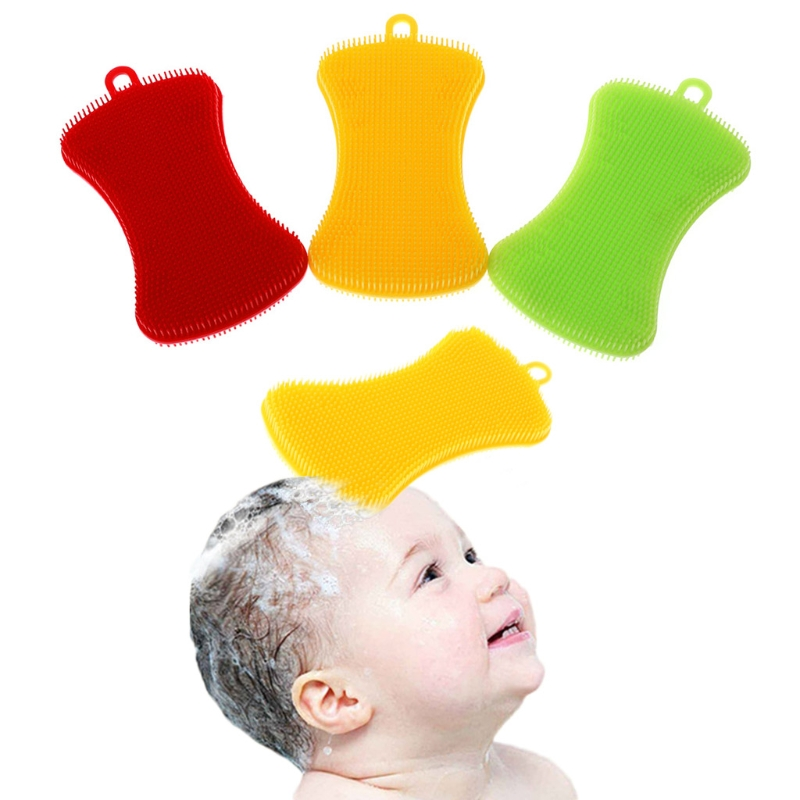 Baby Shower Brush Soft Silicone Infants Massage Double Side Bath Comb Hair Wash