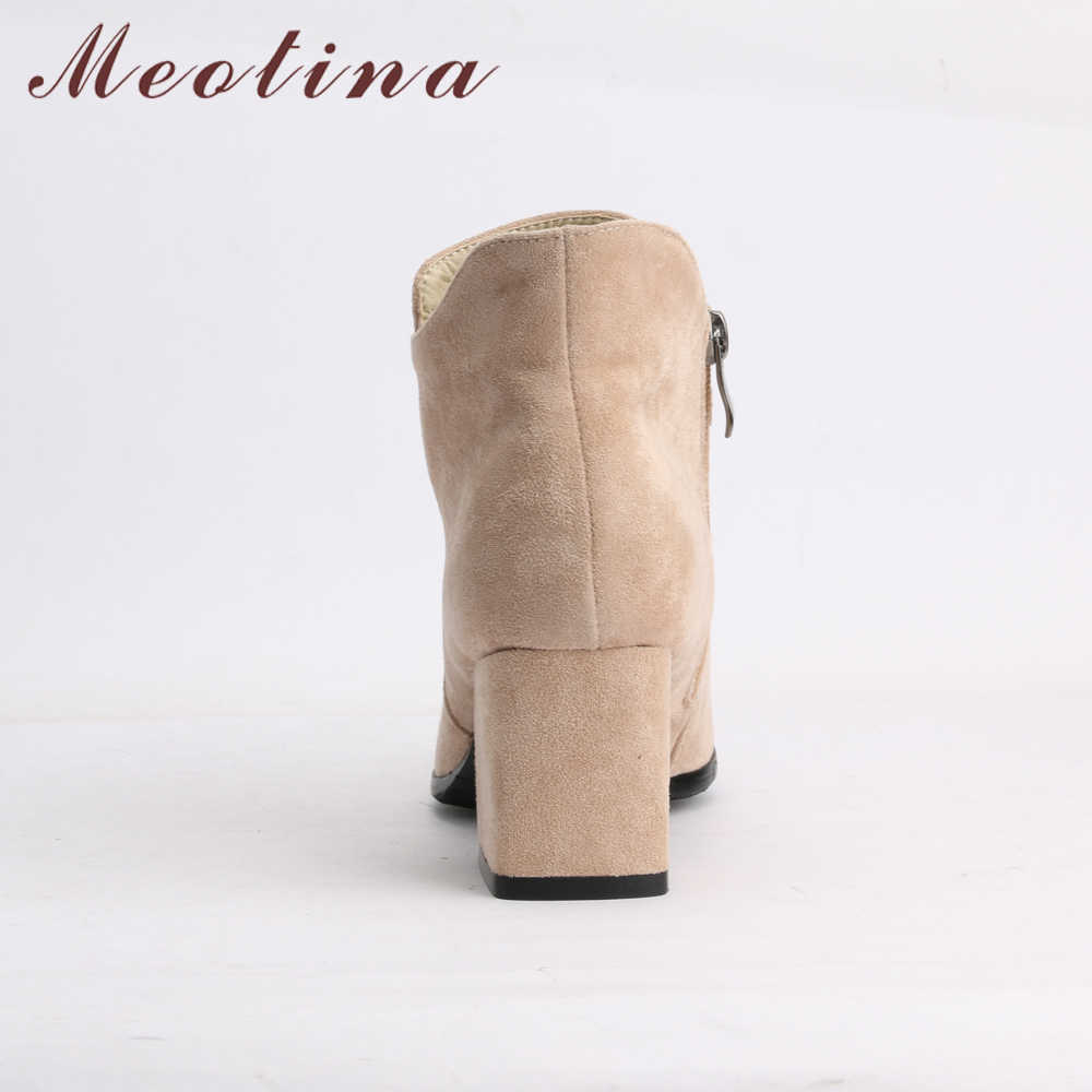 Meotina Kış yarım çizmeler Yüksek Topuk Çizmeler Kadın Kare Topuk kısa çizmeler Moda Sivri Burun Bayanlar Kısa Ayakkabı Bej Siyah 43