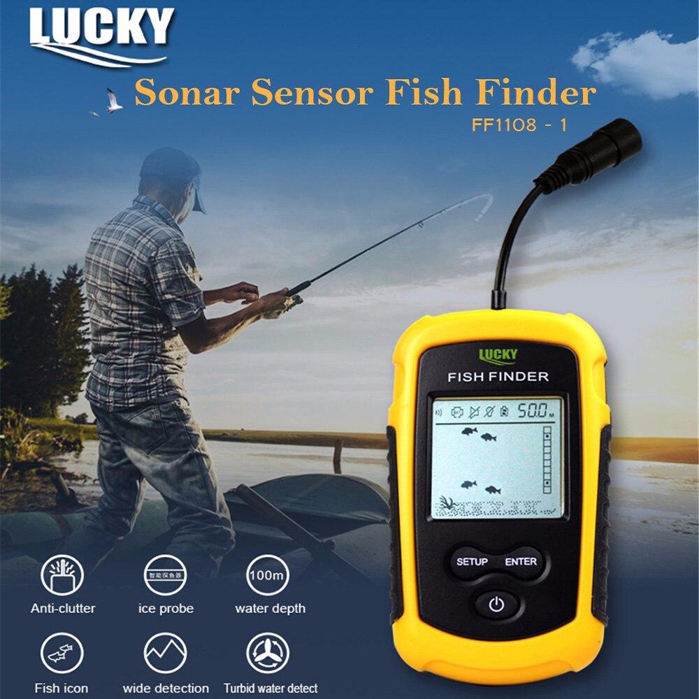 FF1108-1 chanceux détecteur de poisson 100 M Portable Sonar capteur transducteur détecteur pour la pêche 45 degrés 200 kHz détecteur de poisson sondeur