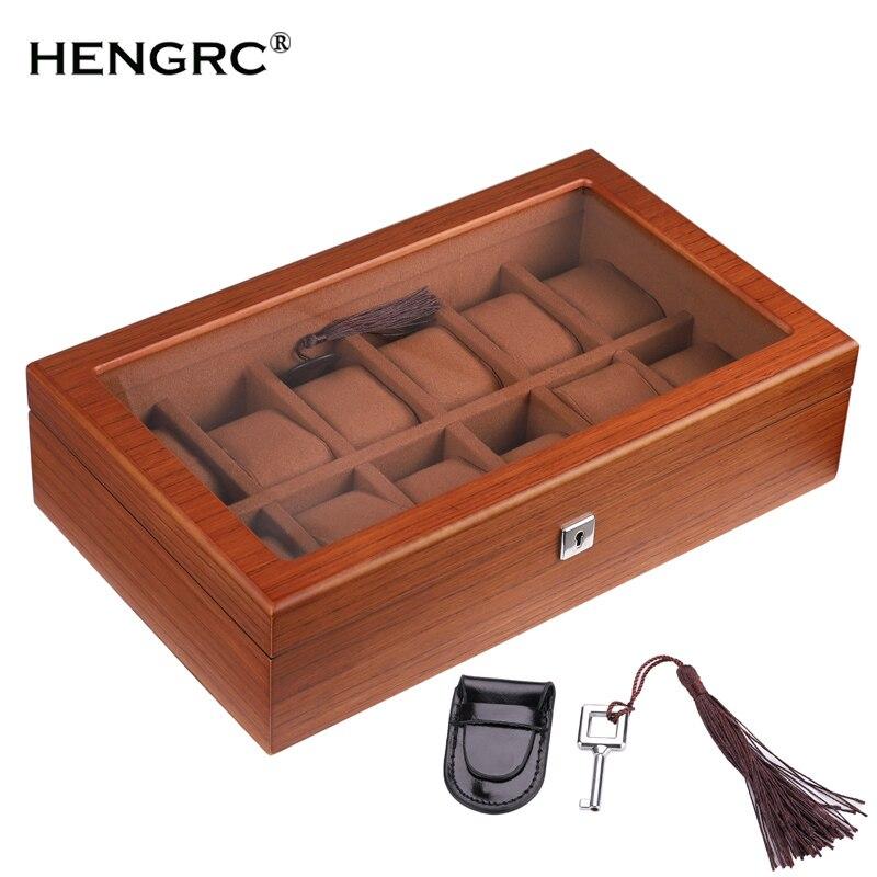 12 grilles de haute qualité en bois boîte de montre rectangulaire dames boîte à bijoux marron montres cas