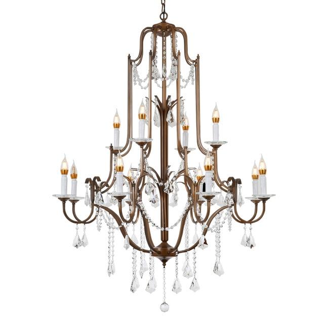 Luxury Vintage E14 K9 Crystal Ancient Gold Led Crystal Chandelier Lighting Fixtures for Loft Staircase Living Room Bedroom Home Pendant Lights     - title=